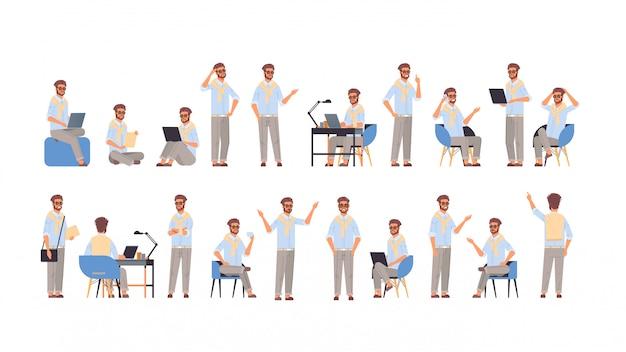 Stellen sie geschäftsmann in verschiedene posen gesten emotionen und körpersprache konzept