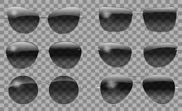 Stellen sie gläser verschiedene form ein. teeschattierung rund futuristisch schmal polizei lässt flieger trapez schmetterling, katzenauge.transparente schwarze farbe.sonnenbrille.3d-grafik.unisex frauen männer fallen