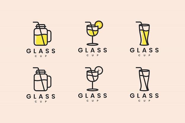 Stellen sie glasbecher mit linienkonzeptlogodesigninspiration ein