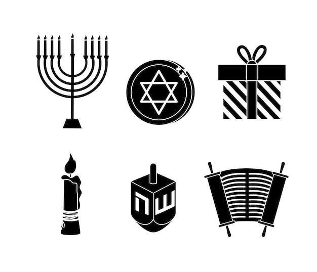 Stellen sie glückliche hanukkah-dekoration zur traditionellen feier ein