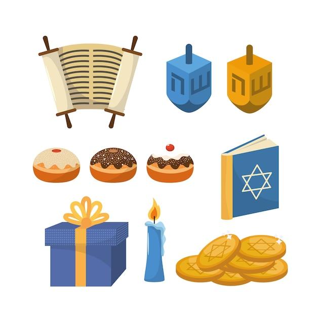 Stellen sie glückliche hanukkah-religionsfeier ein
