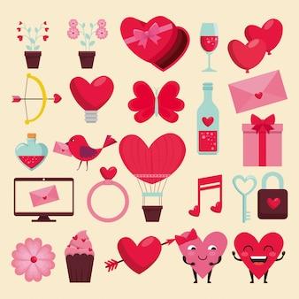 Stellen sie glückliche valentinsgrußdekoration zum feierereignis ein