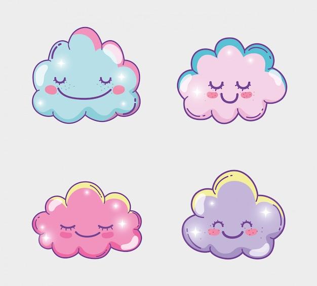 Stellen sie glücklichen flauschigen wolkenausdruck ein