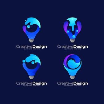 Stellen sie glühbirnenlogo und wasser-swoosh, buntes 3d-logo, technologie-logo-vorlage ein