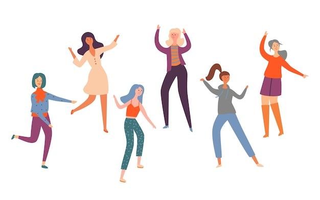 Stellen sie gruppe junge glückliche tanzende leute verschiedene rasse ein. lächelnde frauen in heller kleidung, die tanzteil genießen. weibliche tänzer lokalisiert auf weißem hintergrund. bunte flache karikatur-vektor-illustration