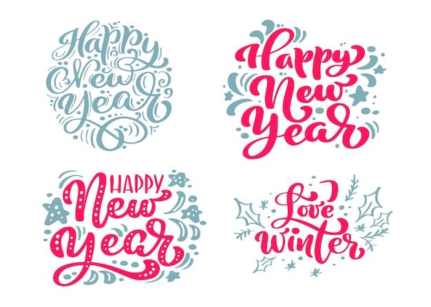 Stellen sie guten rutsch ins neue jahr-text kalligraphische beschriftung frohe weihnachten ein