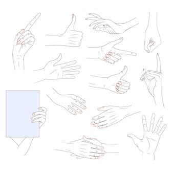Stellen sie hände in den verschiedenen gesten ein, die auf weißem hintergrund lokalisiert werden. gute hautlinie illust