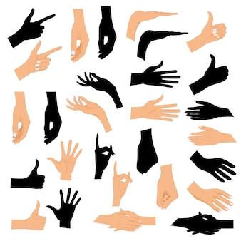 Stellen sie hände in verschiedene gesten mit einem schwarzen schattenbild ein, das auf weißem hintergrund lokalisiert wird.