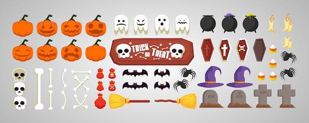 Stellen sie halloween-symbolelemente ein