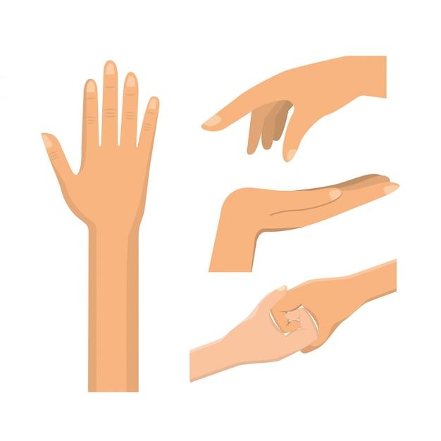 Stellen sie handgeste mit nägeln und fingern ein