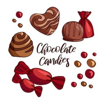 Stellen sie helle köstliche stücke von milchschokolade ein vektorillustration von nachtischnahrung