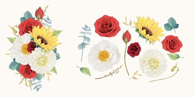 Stellen sie herbstaquarellelemente von sonnenblumendahlie und -rosen ein