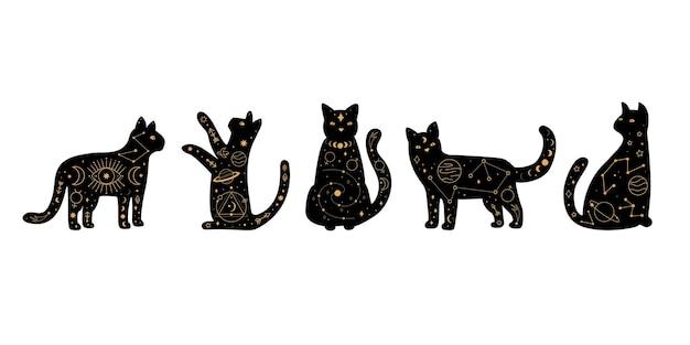 Stellen sie himmlische magie und astrologische schwarze katzen ein. Premium Vektoren