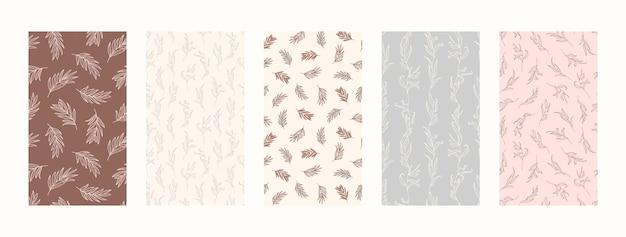 Stellen sie hintergründe mit palmblättern und floralen elementen ein. abstrakte handy-hintergründe im minimalistischen trendstil für social-media-geschichten. vektorillustration in den pastellfarben rosa und blau