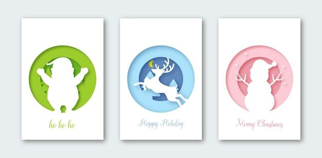 Stellen sie hintergrund für grußkarte, abdeckungen, fahne, flyer, plakate ein. weihnachtspostkartenzusammensetzung im papierschnittstil