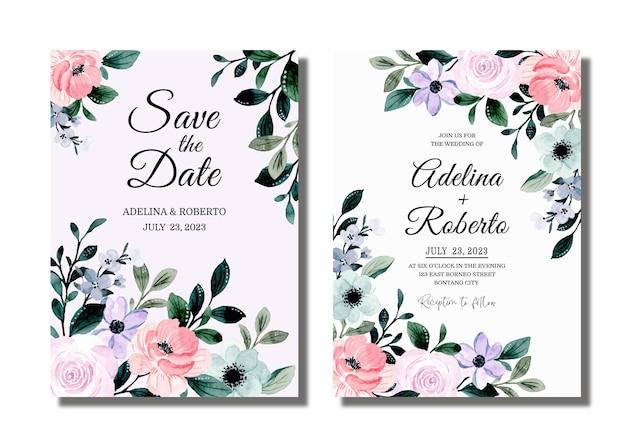 Stellen sie hochzeitseinladungskarte mit weichem rosa lila blumenaquarell ein