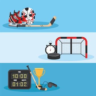 Stellen sie hockeysport mit uniform und ausrüstung ein