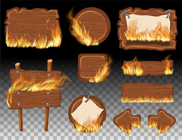 Stellen sie hölzerne spielplatten mit flammenbrand ein.