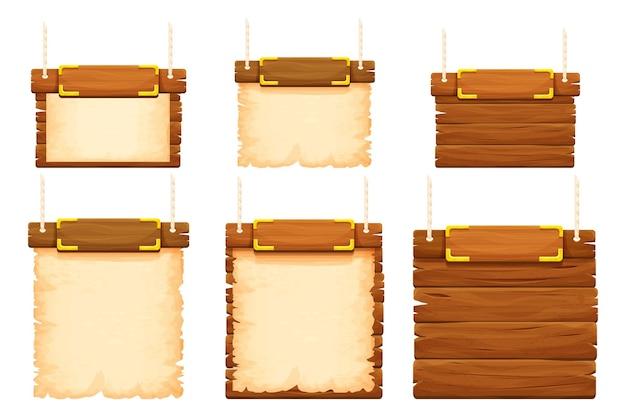 Stellen sie holzrahmen-banner mit goldenen details ein, altes pergament und seil im cartoon-stil