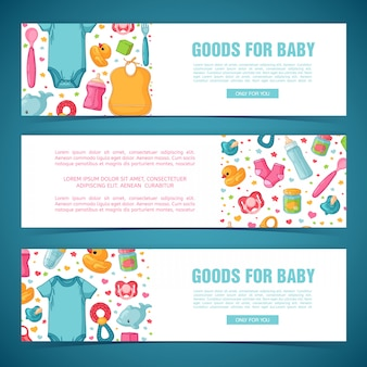 Stellen sie horizontale banner mit kindheitsmustern ein. neugeborenes personal zum dekorieren von flyern. entwerfen sie vorlagen für karte, einladung mit kleidung, spielzeug, zubehör für babyparty. .