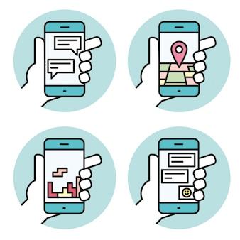 Stellen sie ikonen der hand ein, die lineare ikone des smartphone hält
