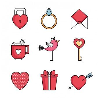 Stellen Sie Ikonen des glücklichen Valentinstags ein