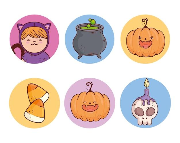 Stellen sie ikonen des glücklichen halloween auf runden rahmen ein