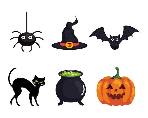Stellen sie ikonen des glücklichen halloween ein