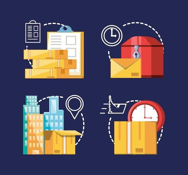 Stellen sie ikonen des logistischen services ein