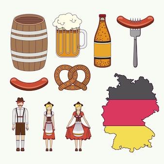 Stellen sie ikonen kultur deutschland-vektorillustrationsdesign ein