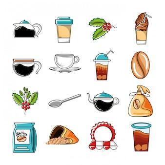 Stellen sie ikonen von kaffee- und küchenwerkzeugen ein