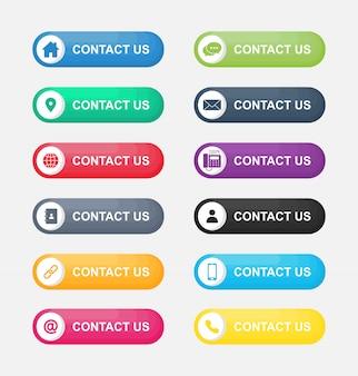 Stellen sie ikonen von kontakt uns knopf ein, der auf weißem hintergrund lokalisiert wird.