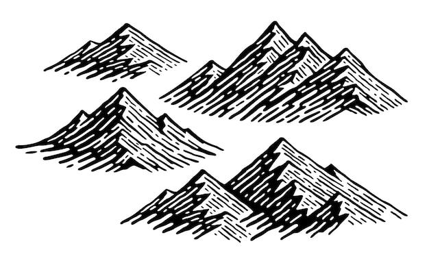 Stellen sie illustration des berges im gekritzel-weinlesestil ein