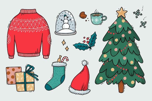 Stellen sie illustrationen von weihnachtselementen ein