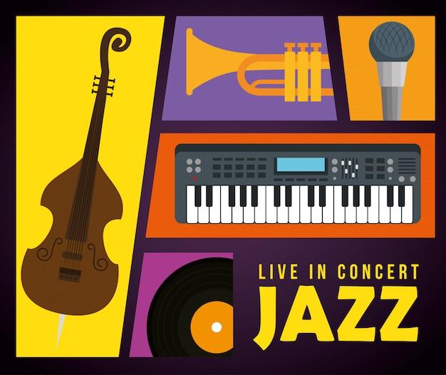Stellen sie instrumente zum internationalen jazztag ein
