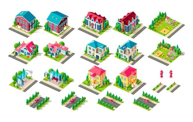 Stellen sie isolierte isometrische illustration hausferienhaus penthouse bushaltestelle öffentlichen verkehrsstopp straßenfeuer hydrant rechts links ansicht spielplatz