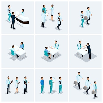 Stellen sie isometrische anbieter des gesundheitswesens, chirurgen, krankenschwester, das konzept des doktorinstallationssatz-krankenhauses 3d ein, das auf einem hellen hintergrund lokalisiert wird