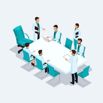 Stellen sie isometrische leistungserbringer, chirurgen, krankenschwester, doktor an einer beratung, diskussion, das brainstorming ein, das auf einem hellen hintergrund lokalisiert wird