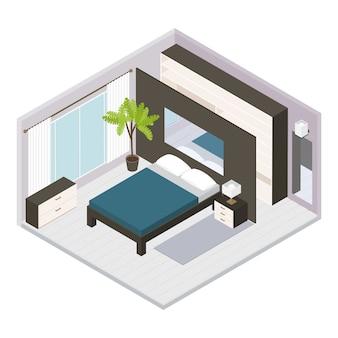 Stellen sie isometrisches schlafzimmer-interieur ein