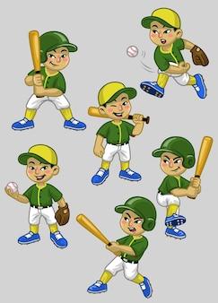 Stellen sie karikatur des asiatischen jungenbaseballspielers ein