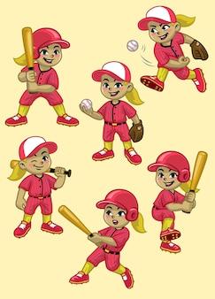 Stellen sie karikatur des mädchenbaseballspielers ein