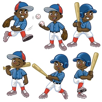 Stellen sie karikatur des schwarzen jungenbaseballspielers ein