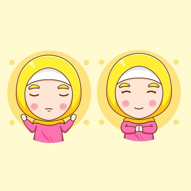 Stellen sie karikaturillustration des niedlichen muslimischen frauencharakters ein
