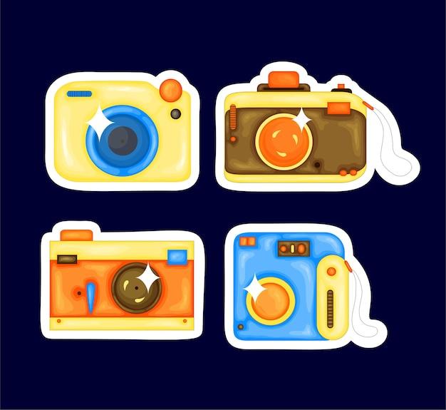 Stellen sie karikaturvektorillustration der fotokamera ein. cartoon-stil design-element für aufkleber, druck, poster, website, album, bekleidung.