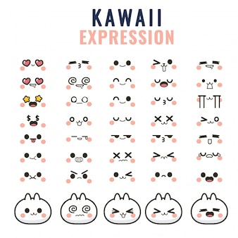 Stellen sie kawaii niedliche gesichter augen und münder lustiges cartoon-emoticon in verschiedenen ausdrücken ein