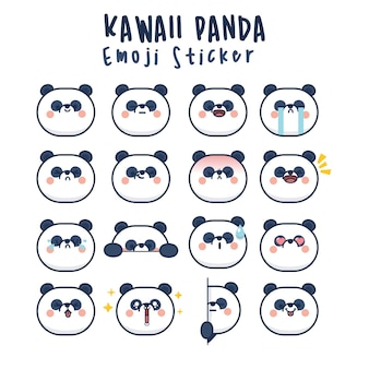 Stellen sie kawaii panda niedliche gesichter lustiges cartoon-emoticon in verschiedenen ausdrücken für soziale netzwerke ein. ausdruck anime charakter und emoticon gesicht illustration