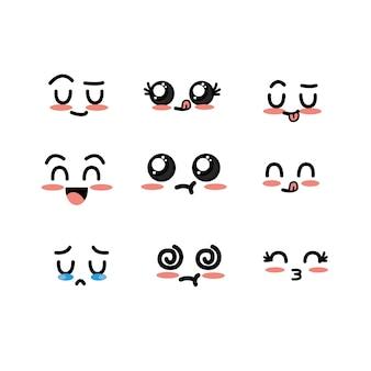 Stellen Sie kawaii süße zarte Gesichter mit Ausdruck ein