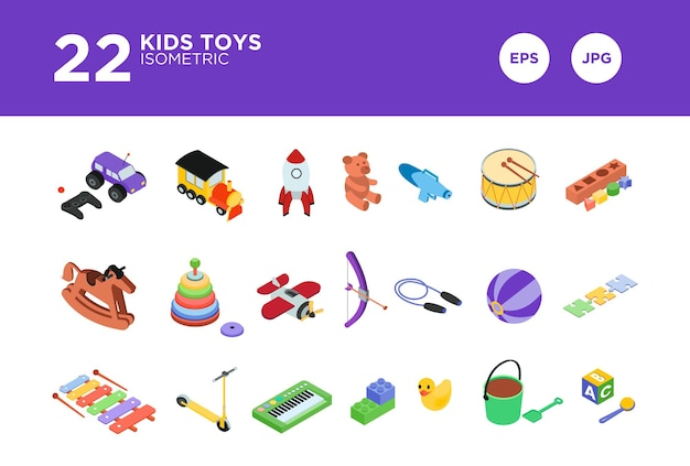 Stellen sie kinderspielzeug isometrischen designvektor ein