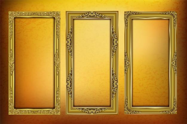 Stellen sie königlich vom goldenen schablonenfotorahmen ein
