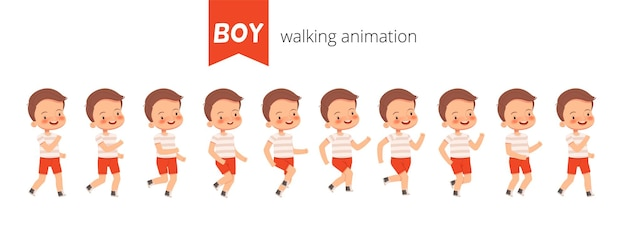 Stellen sie konstruktoranimationsspaziergang eines kleinen niedlichen jungen ein. posen eines wandelnden kindes zur animation.